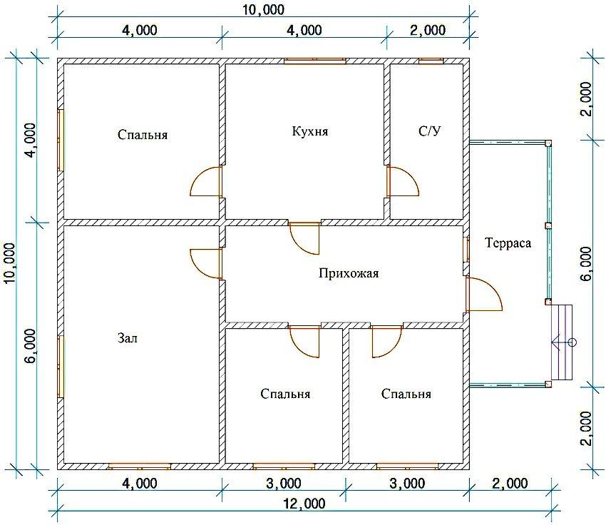 проект дома из газоблока 10 на 10 метров